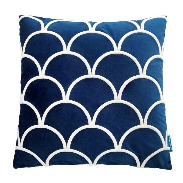 DARLEY Dark Blue and White Scallop Embroidered Velvet Cushion Cover 50 cm by 50 cm