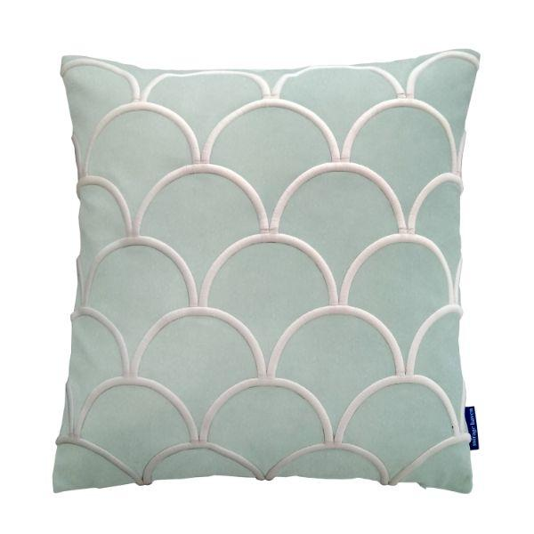 DARLEY Fog Blue and White Scallop Embroidered Velvet Cushion Cover 50 cm by 50 cm