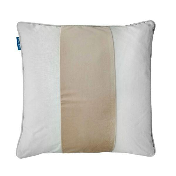 BADEN Beige and White Panel Velvet Cushion Cover 50 cm by 50 cm
