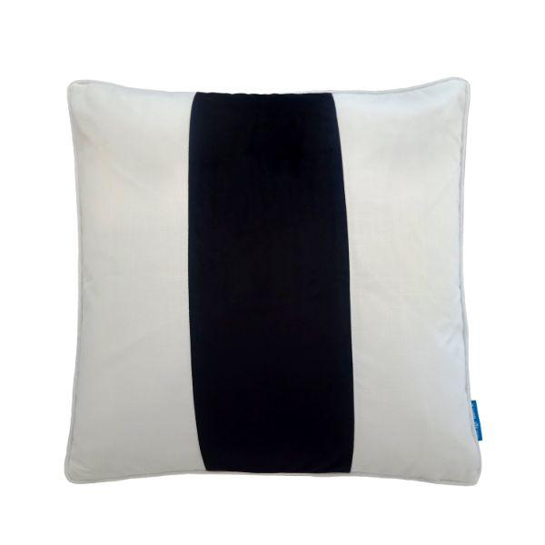 Mirage Haven BADEN Black and White Panel Velvet Cushion Cover 50 cm by 50 cm