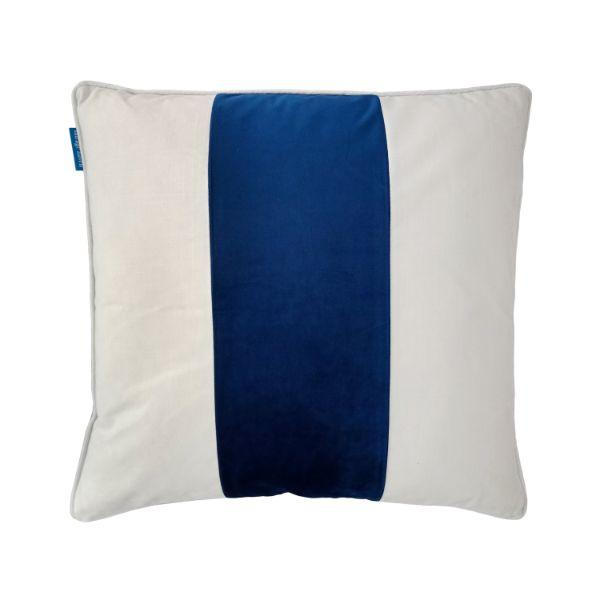 BADEN Dark Blue and White Panel Velvet Cushion Cover 50 cm by 50 cm