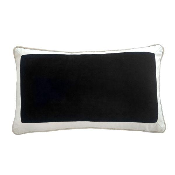 CALDER Black and White Border Velvet Cushion Cover 30 cm by 50 cm