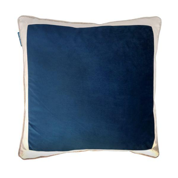 CALDER Dark Blue and White Border Velvet Cushion Cover 50 cm by 50 cm