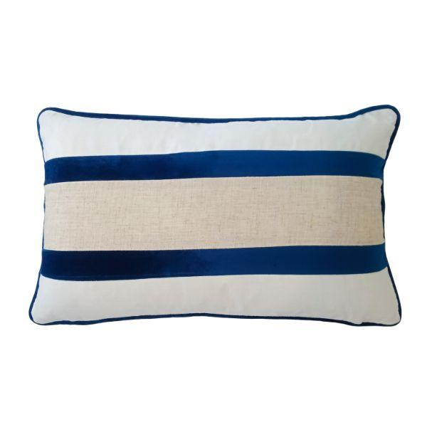 CALDER Dark Blue and Jute Double Strip Velvet Cushion Cover 30 cm by 50 cm