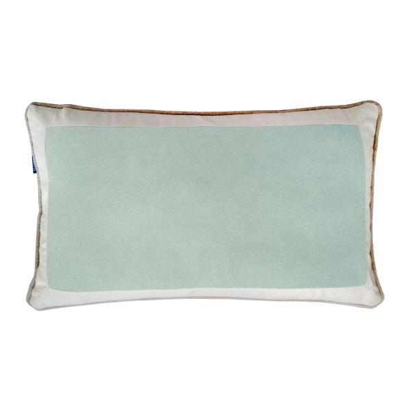 CALDER Fog Blue and White Border Velvet White Cushion Cover 30 cm by 50 cm