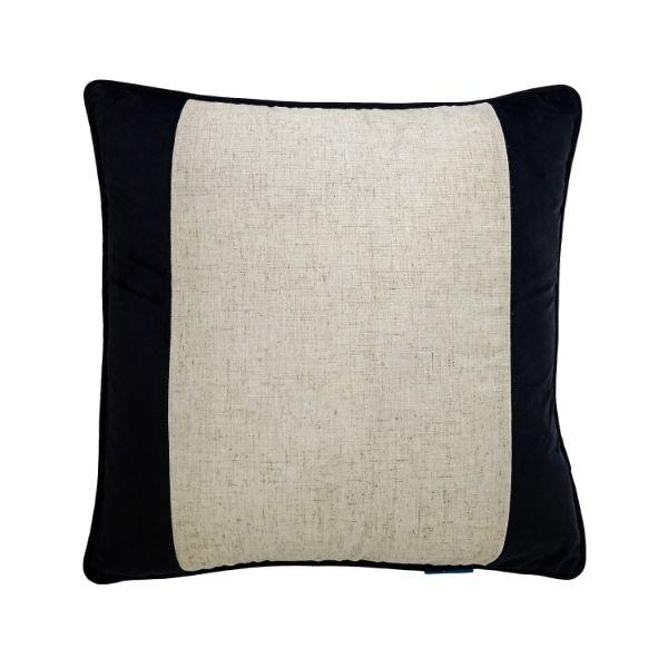 FLYNN Black and Silver Jute Wide Panel Velvet Cushion Cover 50 cm by 50 cm