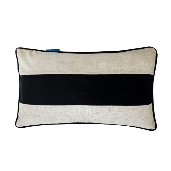 FLYNN Black and Silver Jute Mid Strip Velvet Cushion Cover 30 cm by 50 cm