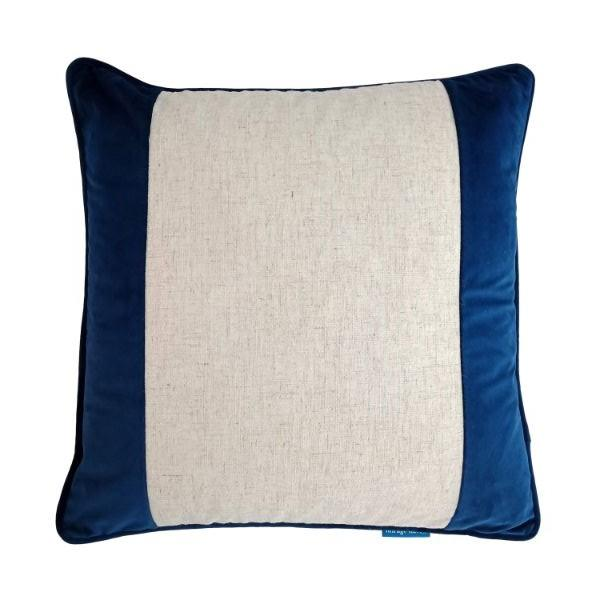 FLYNN Dark Blue and Silver Jute Wide Panel Velvet Cushion Cover 50 cm by 50 cm