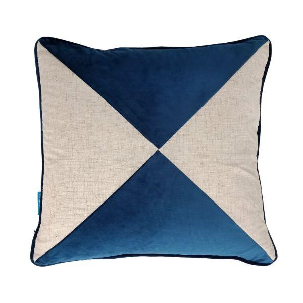 FLYNN Dark Blue and Silver Jute Cross Panel Velvet Cushion Cover 50 cm by 50 cm
