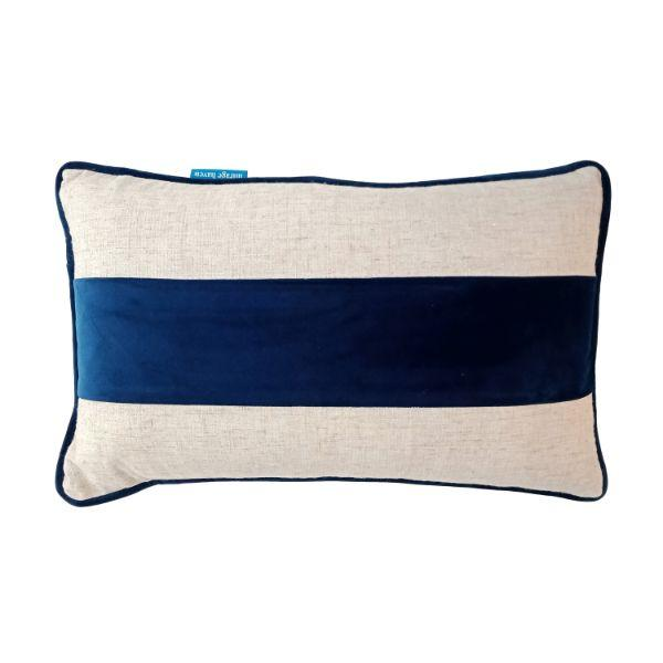 FLYNN Dark Blue and Silver Jute Mid Strip Velvet Cushion Cover 30 cm by 50 cm