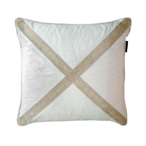 EASTWOOD Silver Jute and White Cross Cushion Cover 50 cm by 50 cm
