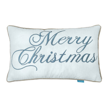 LIMITED EDITION Merry Christmas Duck Egg Blue and White Cushion Cover 30 cm by 50 cm