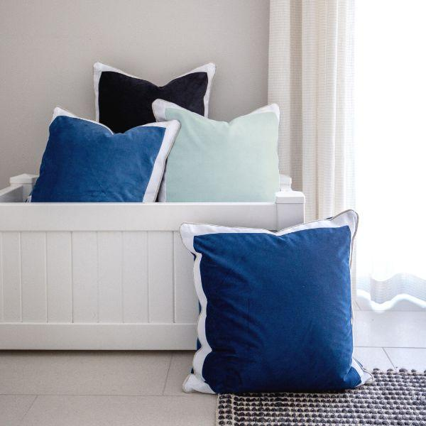 CALDER Fog Blue and White Border Velvet Cushion Cover 50 cm by 50 cm
