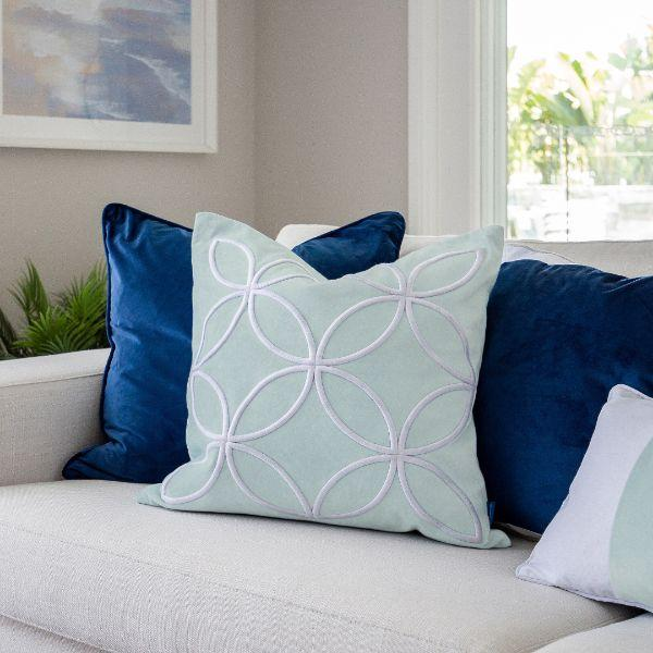 DARLEY Fog Blue and White Circle Embroidered Velvet Cushion Cover 50 cm by 50 cm