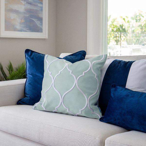 DARLEY Fog Blue and White Trellis Embroidered Velvet Cushion Cover 50 cm by 50 cm