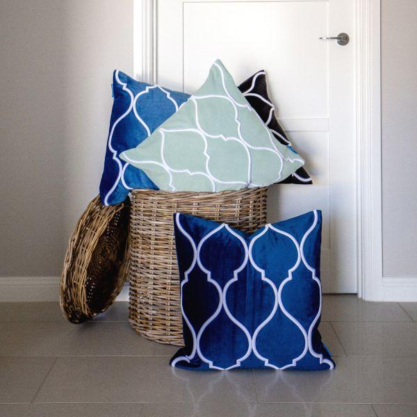 DARLEY Dark Blue and White Trellis Embroidered Velvet Cushion Cover 50 cm by 50 cm