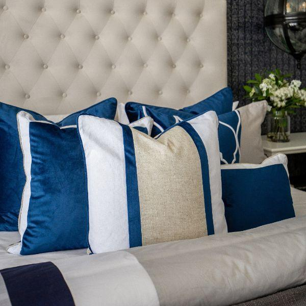 CALDER Dark Blue and White Border Velvet Cushion Cover 30 cm by 50 cm