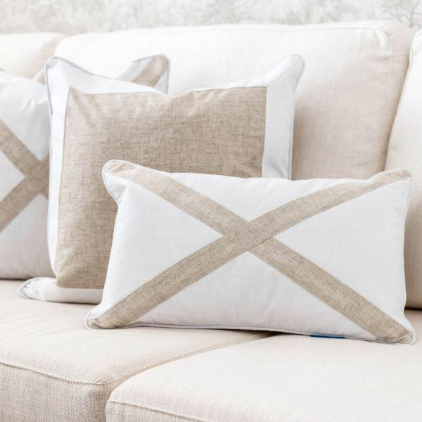 EASTWOOD Silver Jute and White Cross Cushion Cover 30 cm by 50 cm