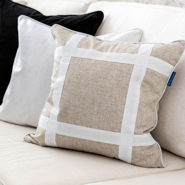 EASTWOOD Silver Jute and White Criss Cross Cushion Cover 50 cm by 50 cm
