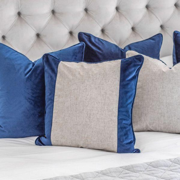 FLYNN Dark Blue and Silver Jute Reversible Velvet Cushion Cover 55 cm by 55 cm