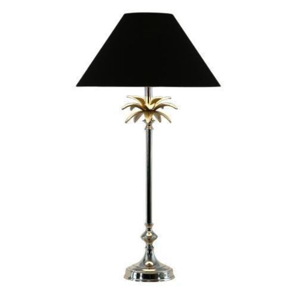 Nickel Palm Lamp with Black Shade | Hamptons Home