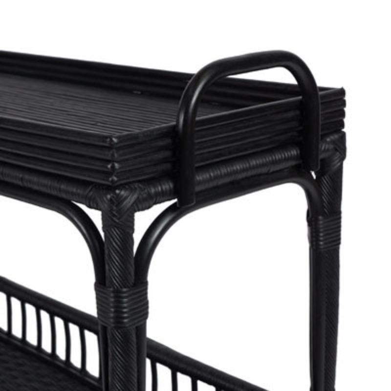 Palm Springs Bar Cart Rattan Black | Hamptons Home