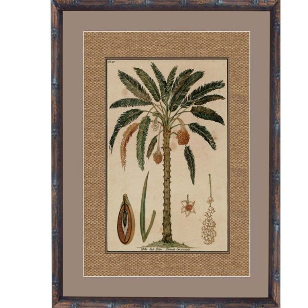 Hamptons Home Dark Rattan Date Nut Framed Artwork  (Design 3) 93 cm x 74 cm