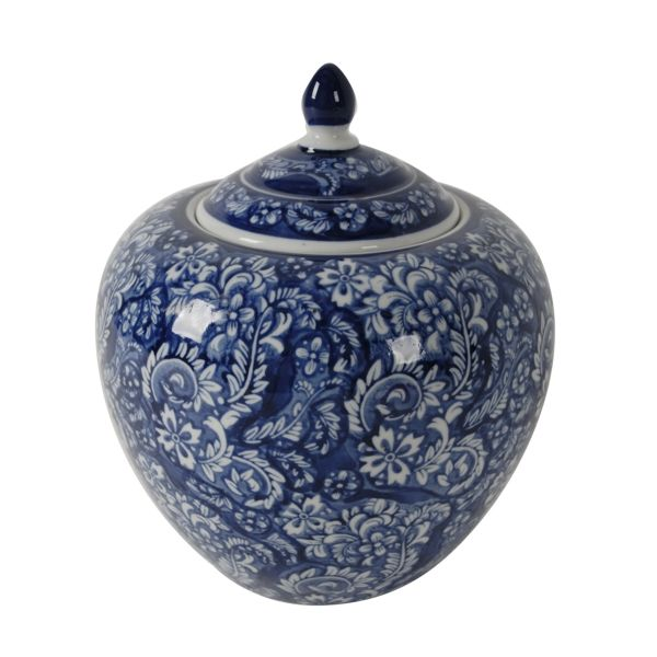 Round Blue and White Floral Ginger Jar with Lid 25 cm H