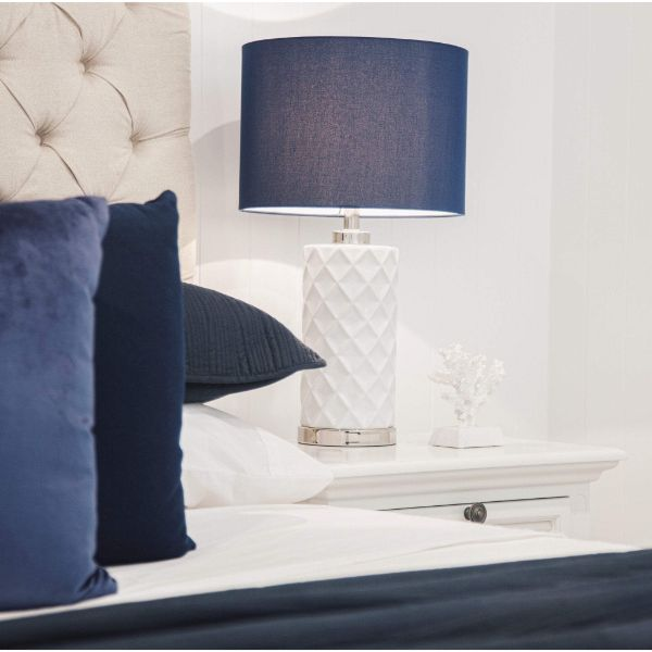 Shaynna Blaze Hampton Ceramic Lamp with Blue Shade | Hamptons Home
