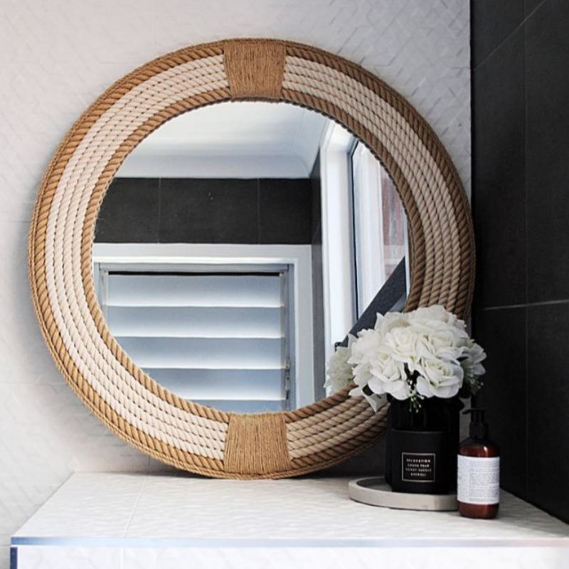 Two Toned Rope Mirror | Hamptons Home