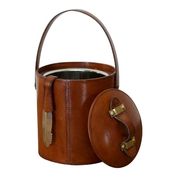 Winston Leather Ice Bucket with Tongs | Hamptons Home