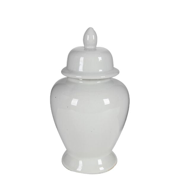 White Ginger jar with Lid 43 cm H