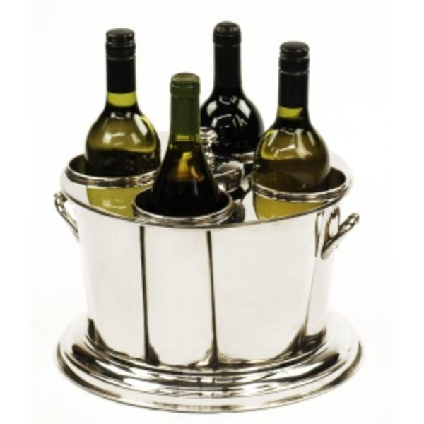 Barware - 4 Bottle Nickel Wine Cooler Tub 41 Cm L