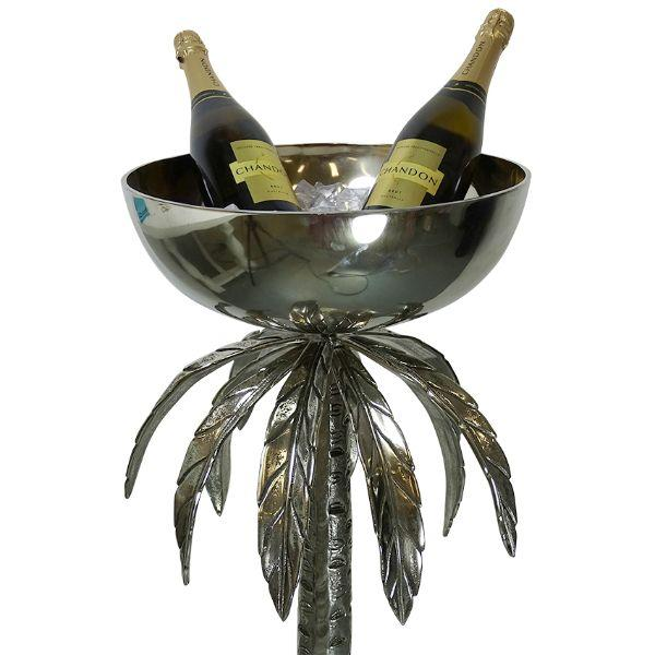Barware - Aluminium Antique Silver Palm Tree Champagne Stand 97 Cm