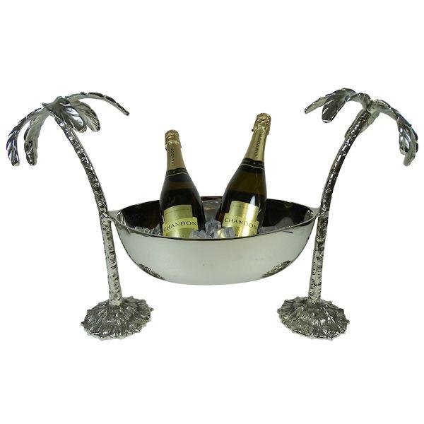 Barware - Aluminium Antique Silver Twin Palms Champagne Stand 44.5 Cm H