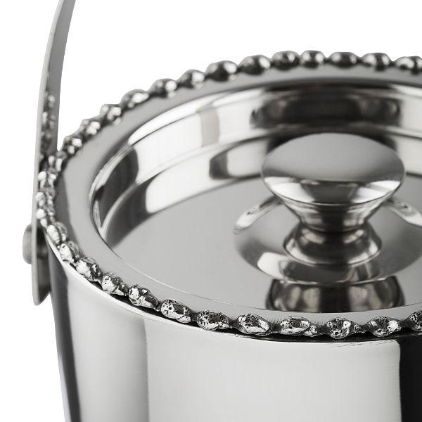 Barware - Beaded Polished Ice Bucket And Tongs 17 Cm H