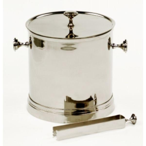 Barware - Nickel Ice Bucket With Tongs 23 Cm H
