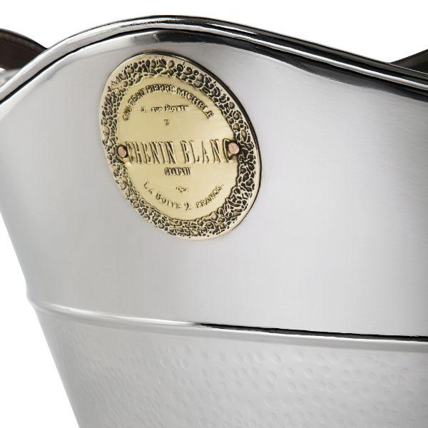 Barware - Nickel Wine Tub With Leather Handles 38.5 Cm L