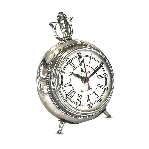 Clocks - Atlantis Round Tri Leg Chrome Clock 14 Cm By 19 Cm