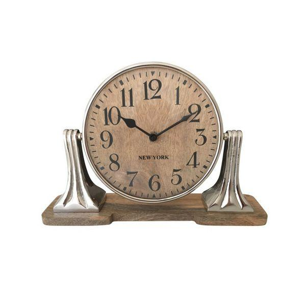 Clock Round On Wooden Stand 18 Cm Dia | Hamptons Home
