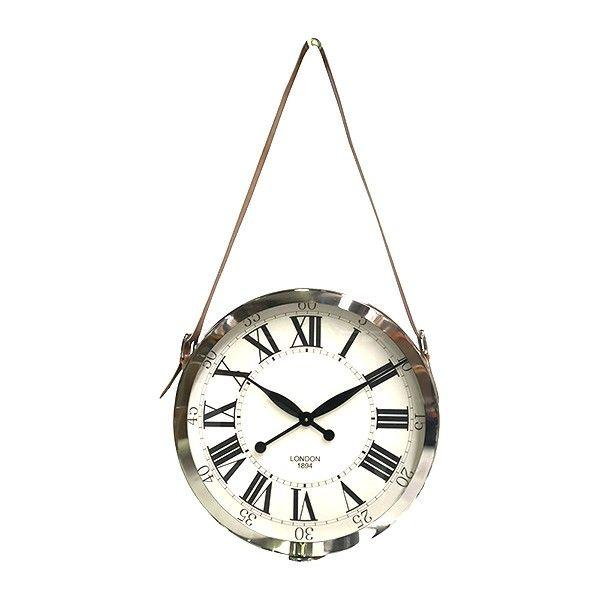 Clocks - Nickel Hanging Clock Leather Strap 50 Cm