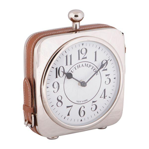 Clocks - Southampton Nickel And Leather Desk Clock 24 Cm H | Hamptons Home