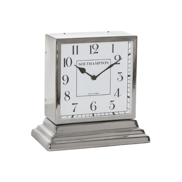 Clocks - Square Nickel Table Clock 27 Cm | Hamptons Home