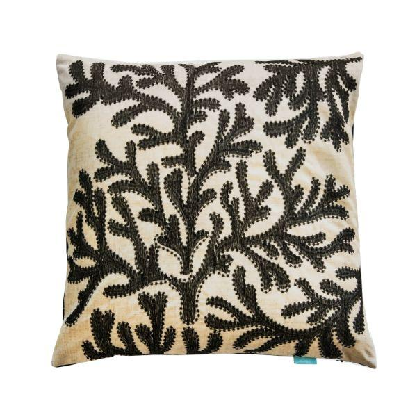 Cushions - CORAL Black And Jute Cushion Cover 50 Cm By 50 Cm