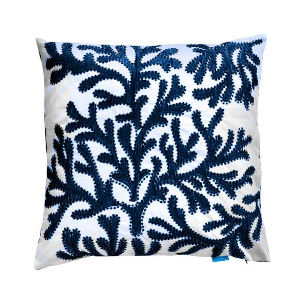CORAL Navy Blue and White Cushion Cover 50 cm by 50 cm | Hamptons Home