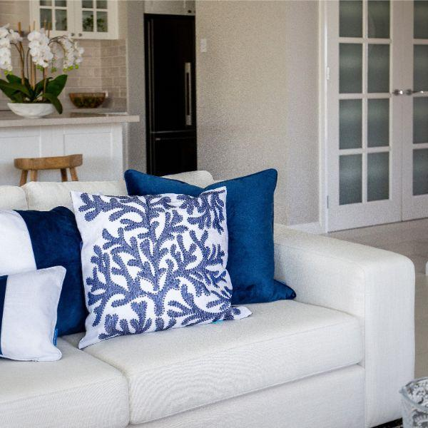 Cushions - CORAL Navy Blue And White Cushion Cover 50 Cm By 50 Cm