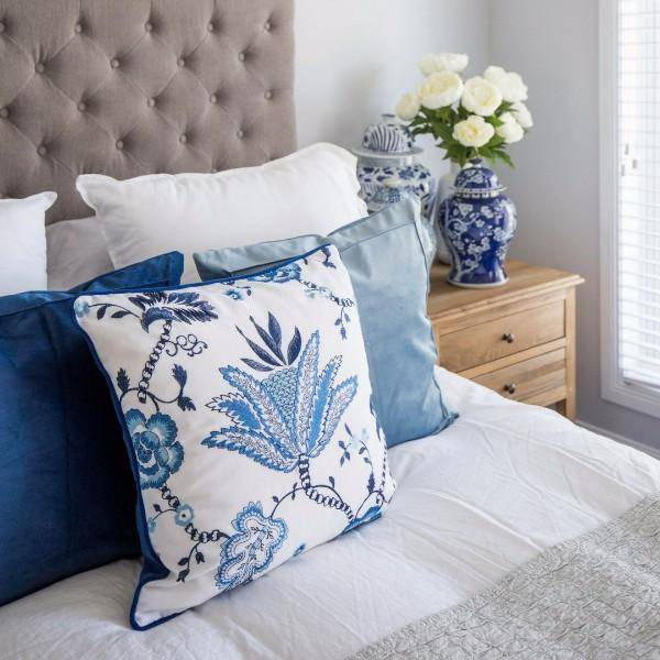 IRIS Floral Cushion Cover 50 cm by 50 cm - Hamptons Home {product_type] Hamptons style Furniture