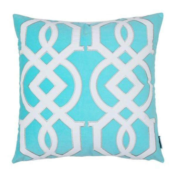 Cushions - JULES Blue And White Geometric Cushion Cover 50 Cm By 50 Cm | Hamptons Home