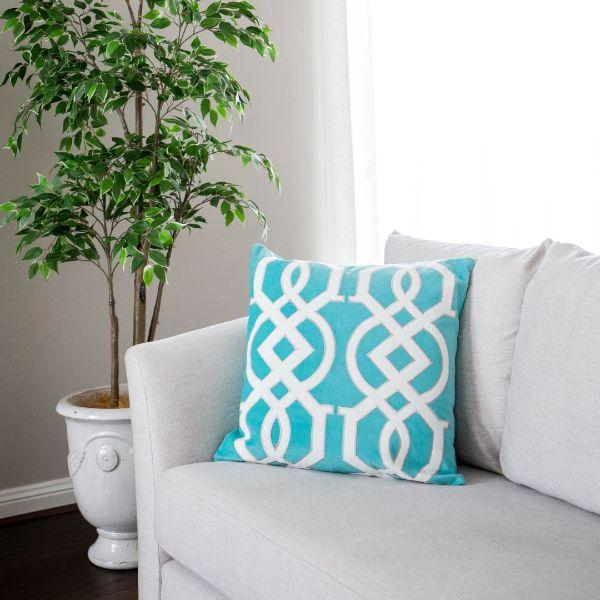 Cushions - JULES Teal And White Geometric Cushion Cover 50 Cm By 50 Cm | Hamptons Home