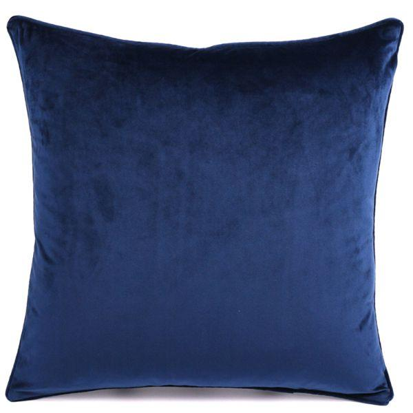 Cushions - KIARA Dark Blue Velvet Cushion Cover 50 Cm By 50 Cm | Hamptons Home